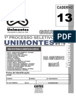 Unimontes 2013 1 Prova Completa Grupo i Humanas