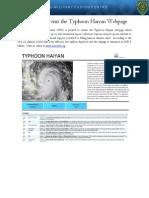 CFC Typhoon Haiyan Webpage Announcement