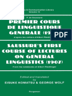 Premier Cours de Linguistique Generale - Saussure's First Course of Lectures on General Linguistics