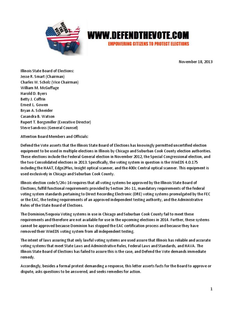 Letter 3 Protest Of Further Use Of Dominion Voting Non Compliant