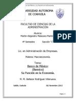 Banco de Mexico y Su Funcion en La Economia