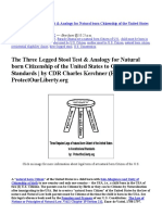 Three Legged Stool Test for Natural Born Citizen to Constitutional Standards