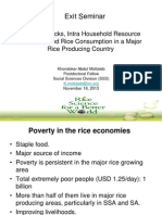 Exit Seminar Income Shocks, Intra Household Resource Allocation and Rice Consumption in a Major Rice Producing Country by Dr. Khondoker Abdul Mottaleb