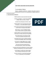 PROGRAMA PARA CONCURSO DE DECLAMACIÓN
