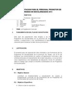 Plan de Capacitacion Para El Personal Promotor de Programas No Escolarizados 2013