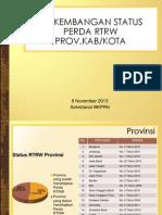 Perkembangan RTRW Provinsi dan RTRW Kab/Kota per  8 November 2013