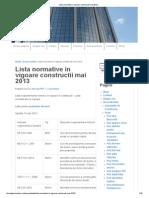 Lista Normative in Vigoare Constructii Mai 2013