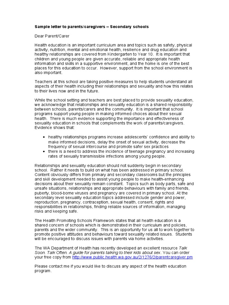 Sample Letter to Parents Secondary | Caregiver | Adolescence