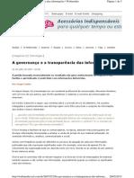 A Governanca e a Transparencia Das Informacoes