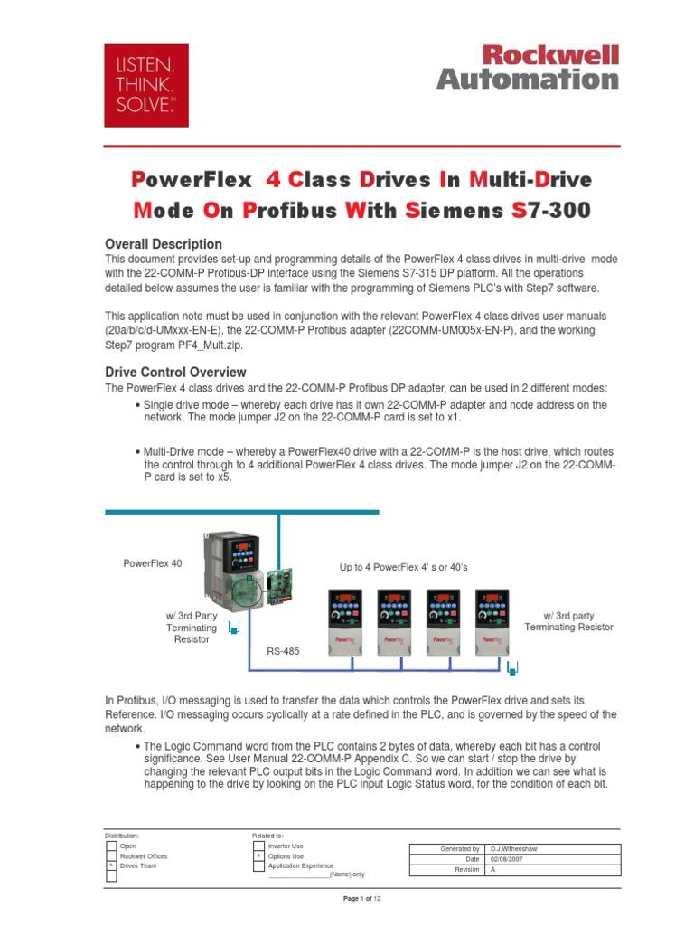 PowerFlex 4 Em Profibus S7-300 | Parameter (Computer Programming