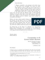Correspondence on the German Student Movement