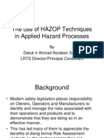 Day 1 - The Use of Hazop Techniques in Applied Hazard Processes