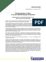 2014 Michelin Guide to Switzerland Press Release