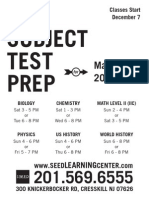 Subject Test Prep for May-June 2014 Test Flyer