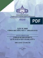 Codigo Del Nino Nina y Adolescente Ley 2026