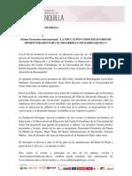 """Comunicado de prensa I Encuentro Internacional """"La Educación como Escenario de Oportunidades para el Desarrollo de Barranquilla"""""""