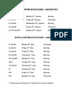 Maths Exams Timetable 2013