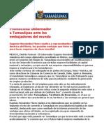 com 0460. 151105 Eugenio Hernández Flores habla con embajadores del mundo de las ventajas que ofrece Tamaulipas.