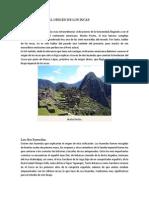 Leyenda Sobre El Origen de Los Incas