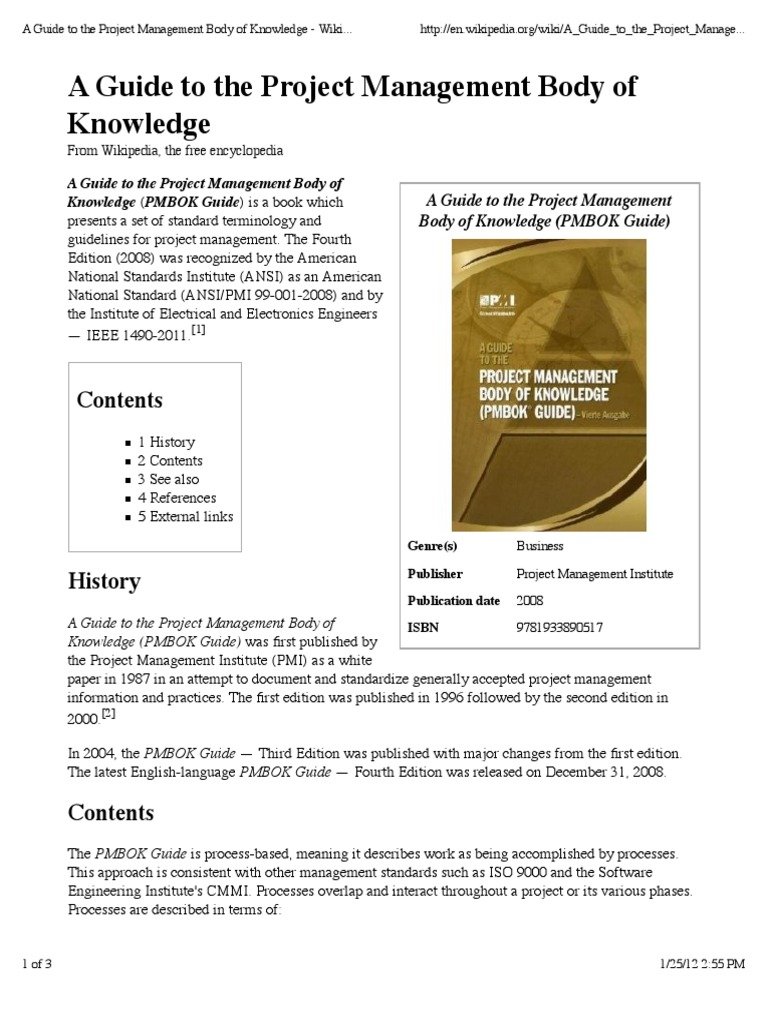 A Guide To The Project Management Body Of Knowledge Wikipedia The