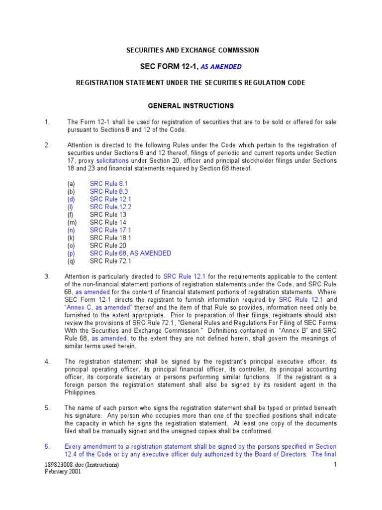 secform 12 1 as amended securities finance u s securities
