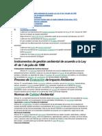 Instrumentos de gestión ambiental de acuerdo a la Ley 41 de 1 de julio de 1998