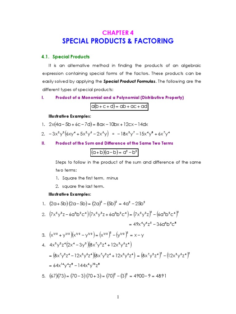 Chapter 4 Special Products Factoring Factorization Complex
