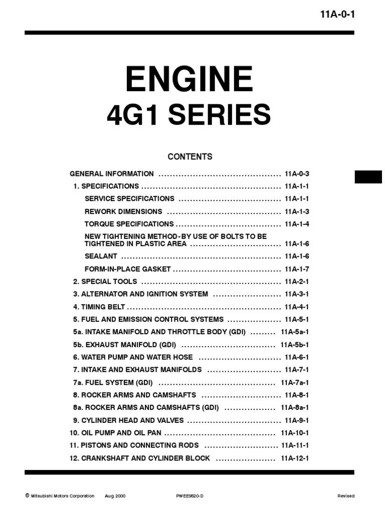 proton 4g1x engine manual belt mechanical fuel injection rh scribd com 4G92 Engine 4G94 Engine