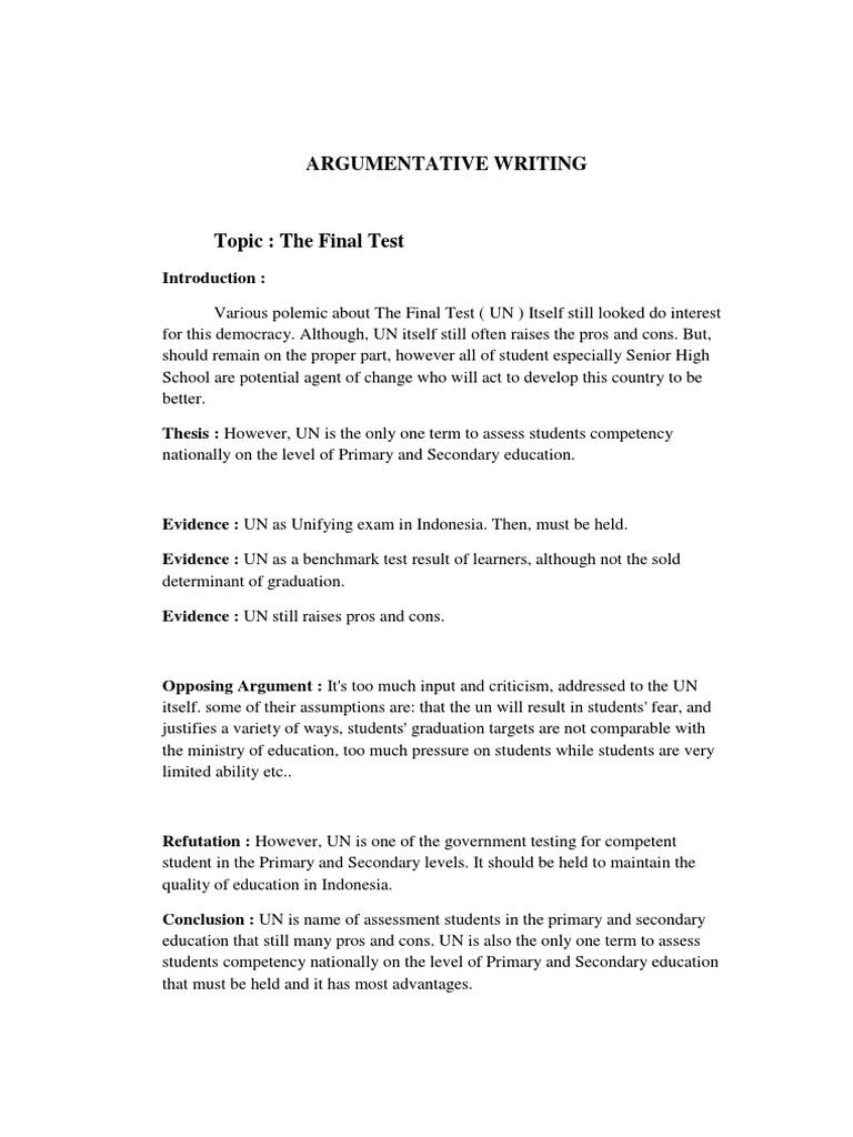 Argumentative Writing | Test (Assessment) | Curriculum