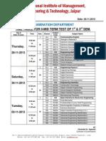 Exam Time Table II MTT I & III Sem Nov-Dec 2013
