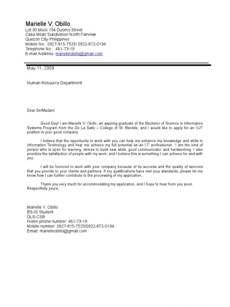 Application letter for ojt business student