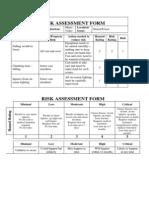 Video Risk Assessment Form