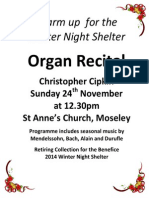 Organ Recital in St Anne's Moseley, BIrmingham, 24th November 2013