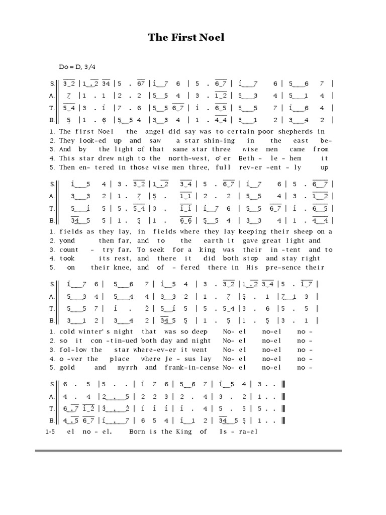 The First Noel partitur   Christmas   Birthdays