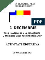 ACTIVITATE 1 DECEMBRIE 2012