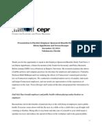 Presentation to Florida's Employer-Sponsored Benefits Study Task Force