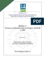 Técnicas de analise de risco - app e hazop