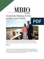 18-11-2013 Diario Matutino Cambio de Puebla - Avala Ruiz Massieu el tren turístico para Puebla