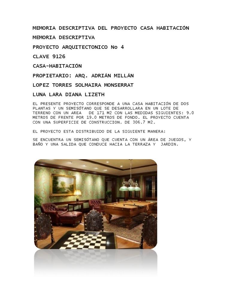 Memoria Descriptiva Del Proyecto Casa Habitación