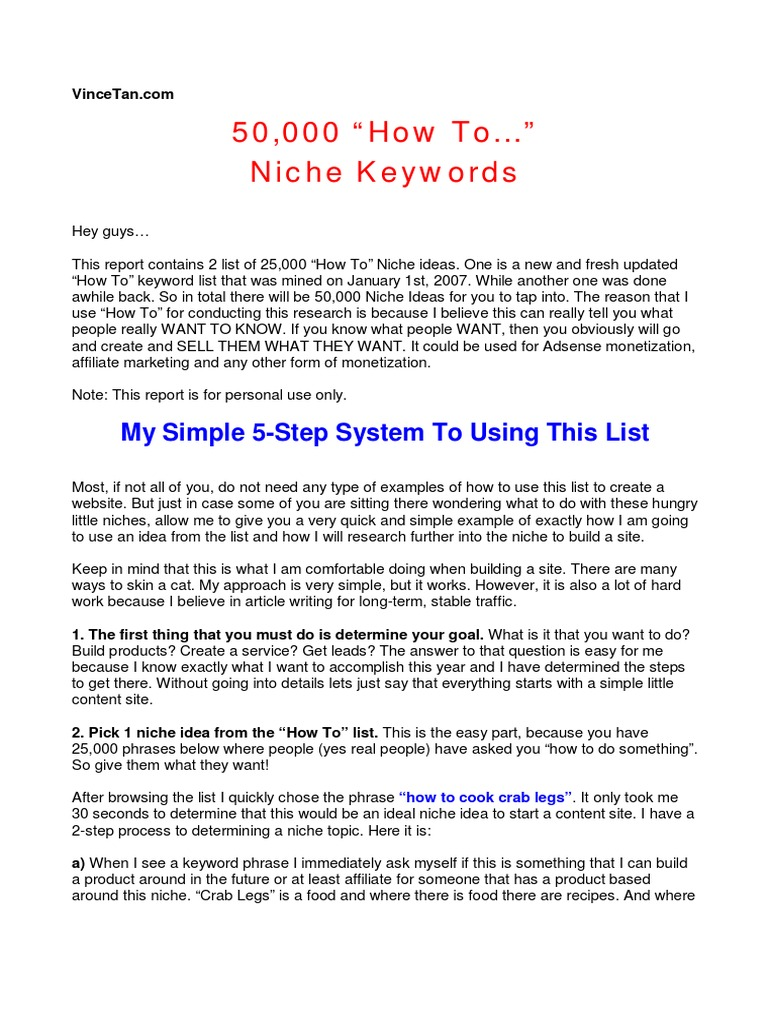 50 000 niche ideas ad sense search engine optimization rh scribd com