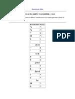 System of Hebrew Transliteration