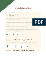 Spelling of Ta Marbuta and Lam