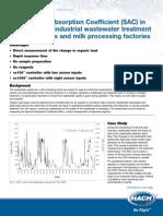 SAC in Influent Wastewater-Dairies & Milk Processing Plants