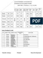 Time Table - MBA Sample