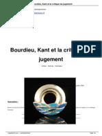 Bourdieu, Kant Et La Critique Du Jugement