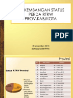 Perkembangan Status Perda RTRW Provinsi, Kabupaten/Kota per 15 November 2013