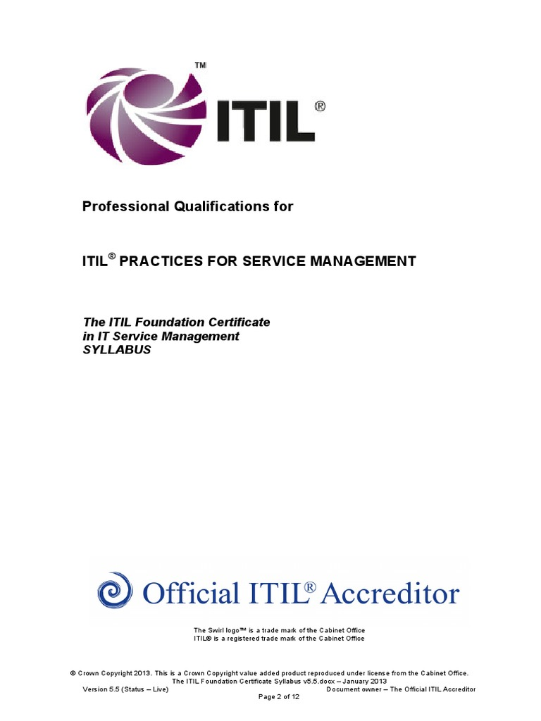 The Itil Foundation Certificate Syllabus V5 5 Itil It Service