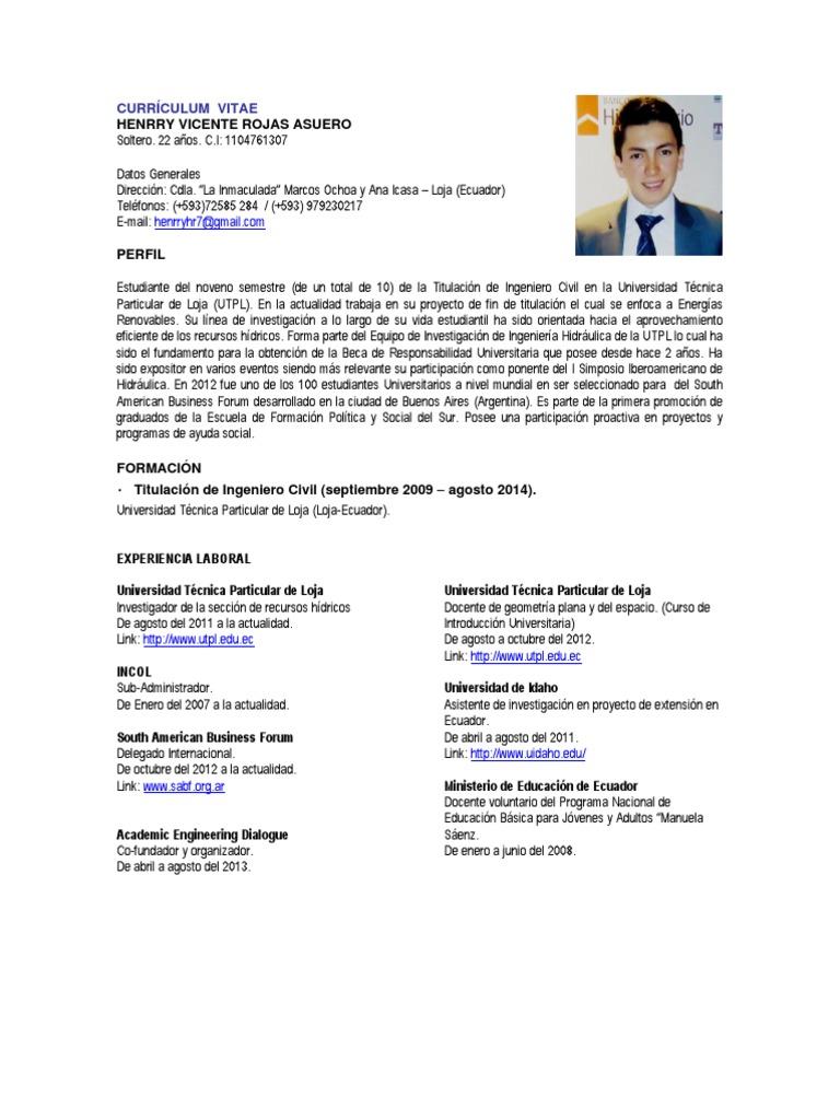 Dorable Curriculum Vitae Voluntario Ideas - Colección De Plantillas ...
