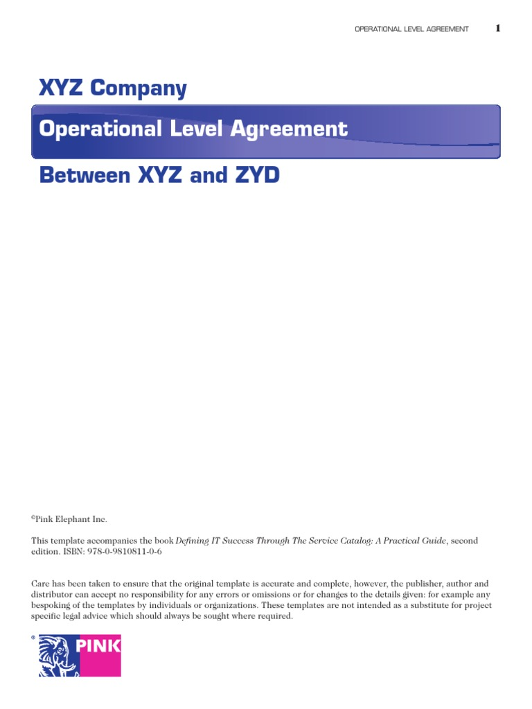 OLA Sample Itil Service Level Agreement - Operational level agreement template