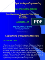 Lecture#13 Insulation Advance H v Engg Applications of Insulating Materials